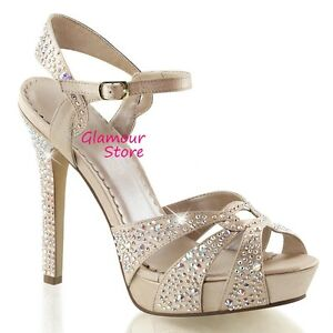 SEXY sandali STRASS plateau tacco 12 n. 35 CHAMPAGNE scarpe Sposa GLAMOUR chic