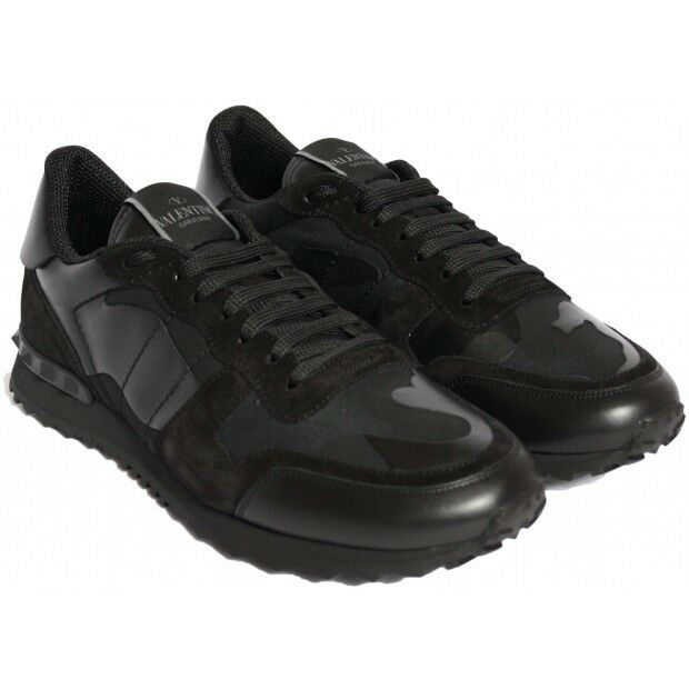 100% Authentic Valentino Rockstud Black Camo Leather Stud Lace Trainer Sneakers