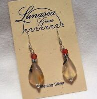 Montana Agate Gemstone 15mm Flat Drop Beaded Sterling Silver Dangle Earrings