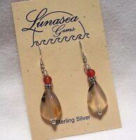 Montana Agate Gemstone 15mm Flat Drop Beaded Sterling Silver Dangle Earrings