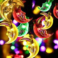 30 LED Solar Lichterkette Mond Party Außenbeleuchtung Gartendekoration Neu