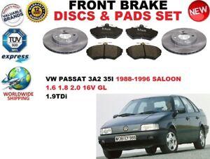para-VW-PASSAT-3a2-35i-Sedan-88-96-Discos-freno-Delantero-Set-pastillas-de-Kit
