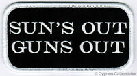 Suns Out Guns Out - Iron-on Patch Embroidered Muscle Name Tag Novelty Saying