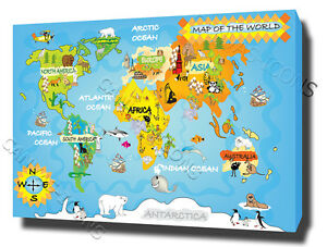 Kids world map canvas print poster photo children fun cool nursery image is loading kids world map canvas print poster photo children gumiabroncs Gallery