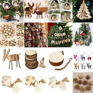 Xmas 3D Tree Wooden Pendants Hanging DIY Christmas Decoration Home Party Decor