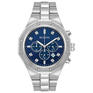 Bulova-Men-039-s-Quartz-Diamond-Accents-Chronograph-Blue-Dial-44mm-Watch-96D138