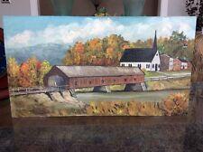 "Vintage 1959 Original Oil On Board ""Amish Bridge"" Signed Lawrence A. Rice 20x11"