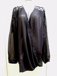 CITY-CHIC-Black-CRISS-CROSS-SHOULDER-TOP-LARGE-Plus-Size-BNWT-Free-Post