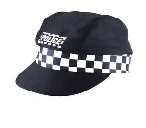1c1d1fc872c4c7 Ladies Men's Police Cap Adult Unisex Party Black Cop Hat Fancy Dress ...