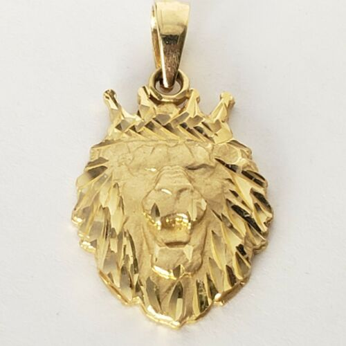 environ 2.54 cm Long Diamond Cut Leo Véritable 14k or Jaune Lion Pendentif Charm 1 in