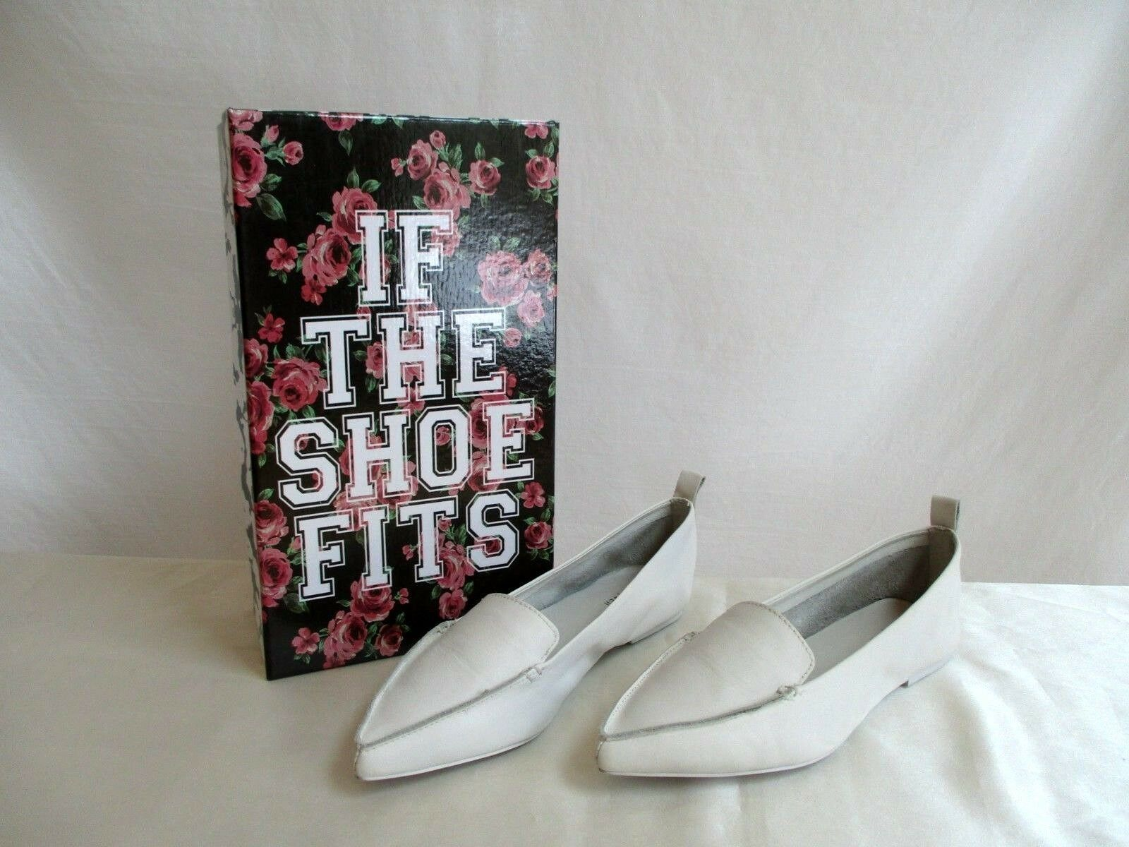 Jeffery Campbell Taille 8.5 Vionnet Pointy Toe Flat blanc Leather Upper