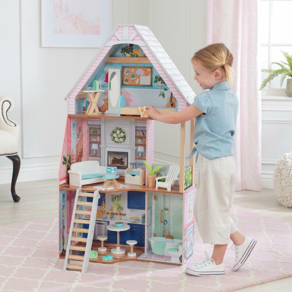 Casa De Muñecas De Madera Kidkraft Matilda Casa De Muñecas     se adapta a las muñecas Barbie Tamaño