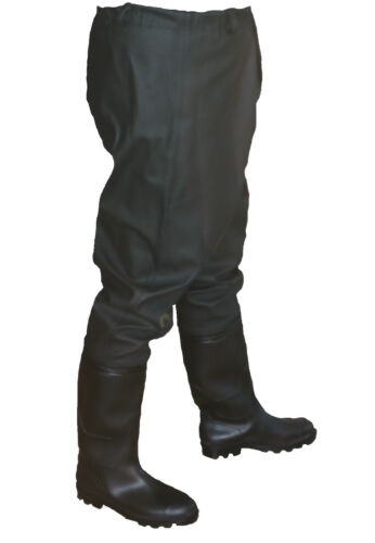 GREEN   5,5-12,5 UK  39-47 EU PAINT Trousers with boots PVC WAIST WADERS BLACK