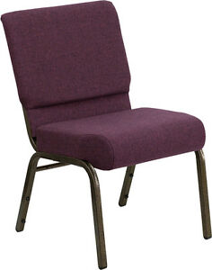 21'' EXTRA WIDE PLUM FABRIC STACKING CHURCH CHAIR- GOLD VEIN FRAME