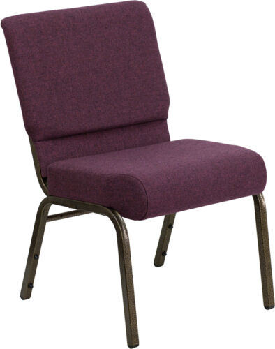 LOT OF 70 21'' EXTRA WIDE PLUM FABRIC STACKING CHURCH CHAIR 812581012484