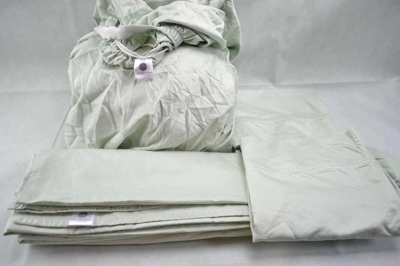 Casa Zeta-Jones 1000TC Embroidered Hem Sheet Set California King Pale Aqua