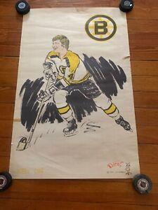 1971 Cartoonists Jim Dobbins BOBBY ORR NHL Boston Bruins Colored Poster 35 X 22