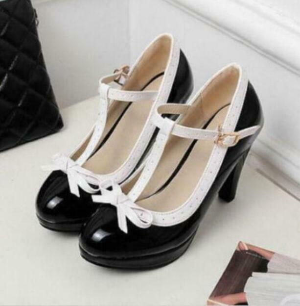 Vintage Womens T-Strap High Heels Bowtie Mary Janes Stylish Lolita Shoes Pumps