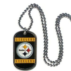 Pittsburgh Steelers Black Gold Metal Dog Tag Necklace