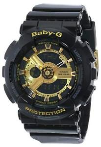 c28e53536446 Brand New Casio Women s BA110-1A Baby-G Goldtone Black Resin Strap ...