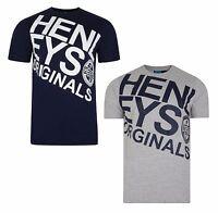 New Mens Henleys Cotton Logo T-Shirt, Top - Navy Blue & Grey