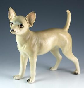 Vintage 5 Inch Ceramic Chihuahua Dog Figurine Matte Finish Made In Japan