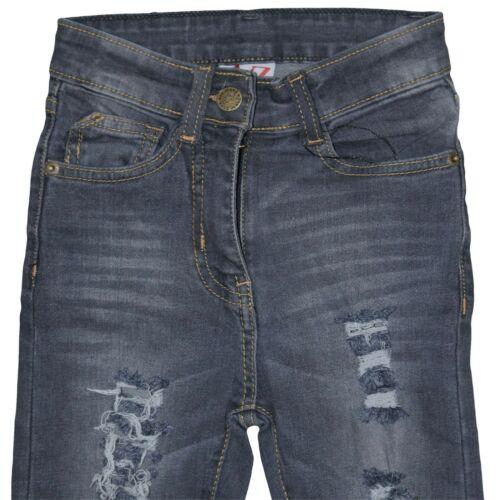 Kids Girls Grey Skinny Jeans Denim Ripped Fashion Stretchy Pants Jegging 5-14 Yr