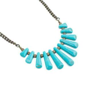 NIB-Plunder-Design-KAMLYN-Marbled-Turquoise-Stones-Necklace-On-Bronze-Chain