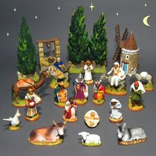 "Vintage French Santons Nativity Set Provence, Signed ""Fouque"", Christmas, 21 pcs"