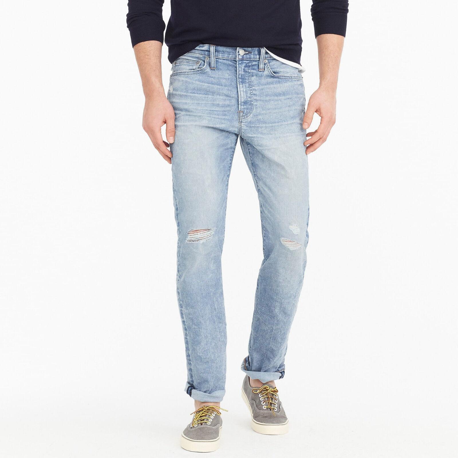 J. Crew 770 Cone Denim Men's Straight-fit Distressed Stretch Jeans NEW 36x32