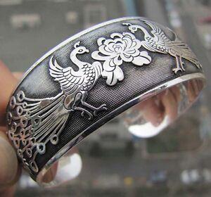 Tibetan-Tibet-Silber-chinesische-Phoenix-Totem-Armreif-Manschette-Armband-HQ