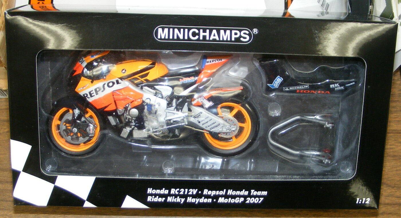 Minichamps 1 12 2007 HONDA RC 212V, Nicky Hayden, Nuevos