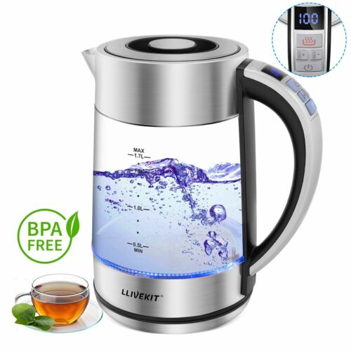 1.7L Glass Electric Kettle 360 Cordless Filtered Fast Boil with Blue Light UK