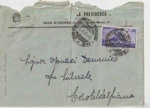 ITALY 1951 20L ARA PACIS ISOLATED ON COVER FROM GROSSETO TO CASTEL DEL PIANO GR - Italia - ITALY 1951 20L ARA PACIS ISOLATED ON COVER FROM GROSSETO TO CASTEL DEL PIANO GR - Italia