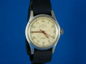 VINTAGE-HARPER-MILITARY-17J-STAINLESS-MENS-WRIST-WATCH-SERVICED-C-1940s