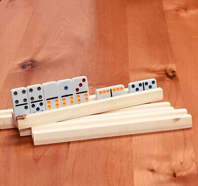 4 Handmade wooden domino holders 4 rows on each rack.