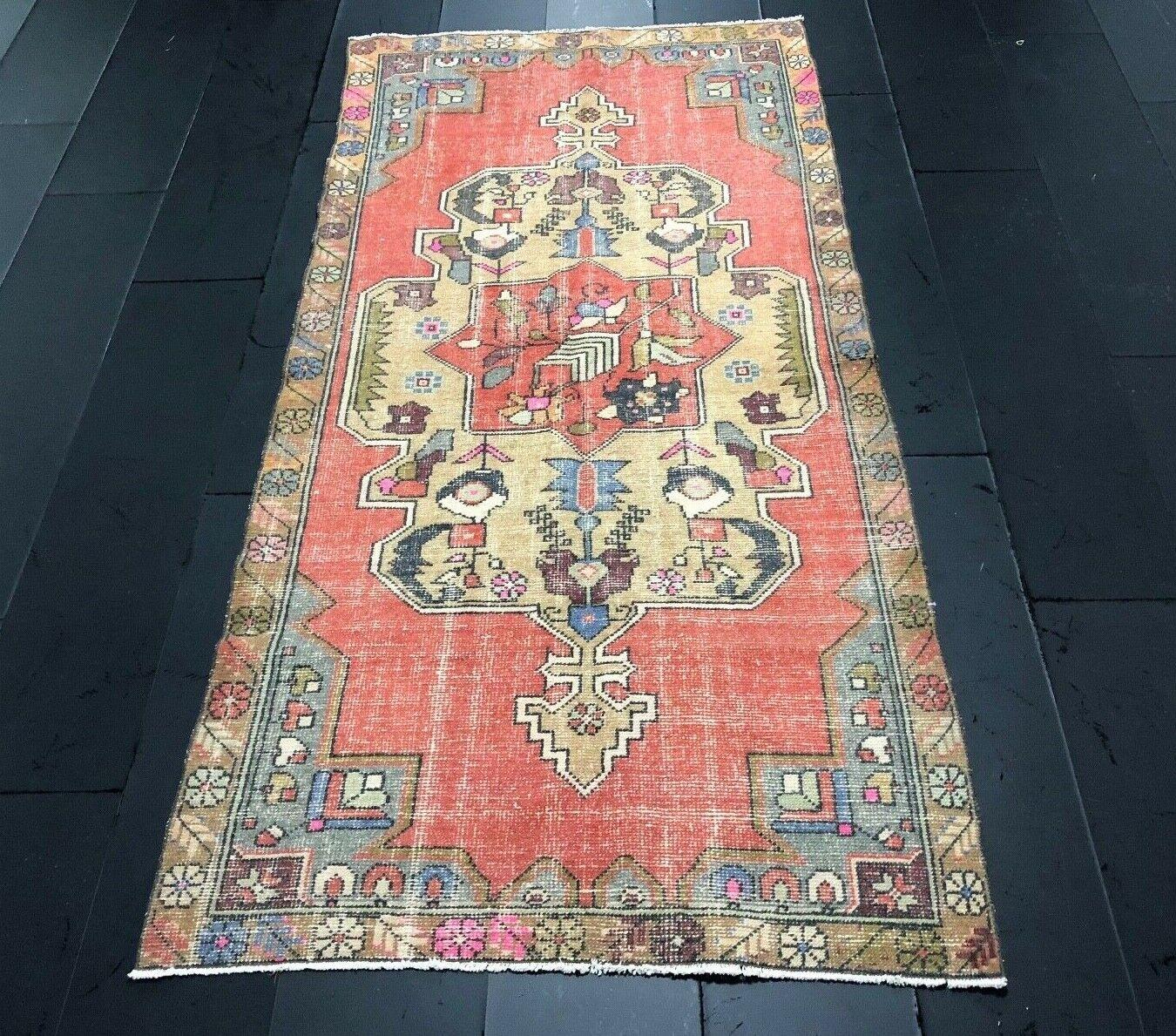 Alfombra Única, Alfombra de alfombras, pequeñas, alfombra turca, Alfombra Vintage, Alfombra de diseñador, Alfombra de C359