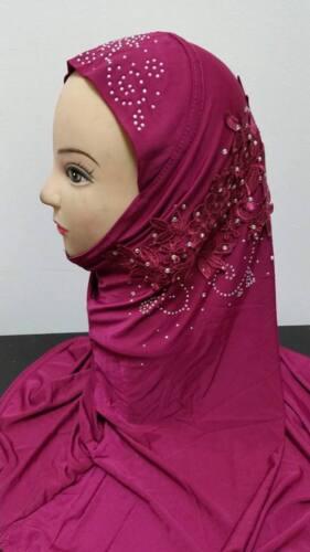 Mujeres Damas Niños Nuevo Perla Floral Bufanda Hijab Musulmán Sombrero Islámico del grano