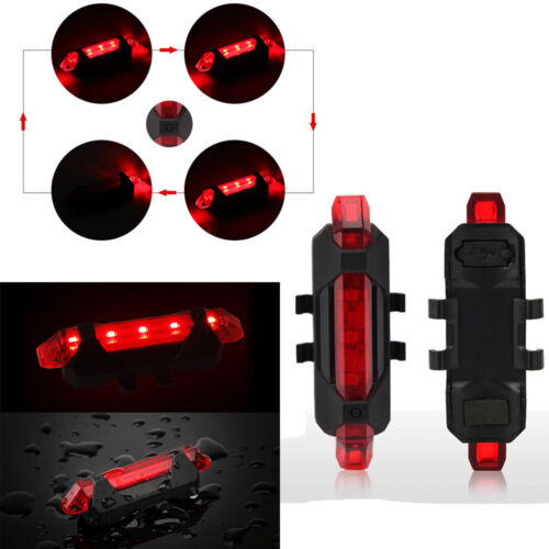 front rear 5 led USB rechargeable bike lights small red white light waterproof