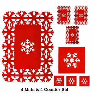 8pc-Christmas-Placemats-Coasters-Festive-Table-Decorations-Red-Felt-Snowflake