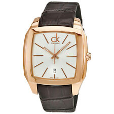 Calvin Klein Recess Silver Dial Brown Leather Mens Watch K2K21620
