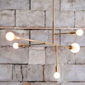 Details About West Elm Chandelier Gold Arms 5lights Contemporary Ceiling Light Pendant Lamp