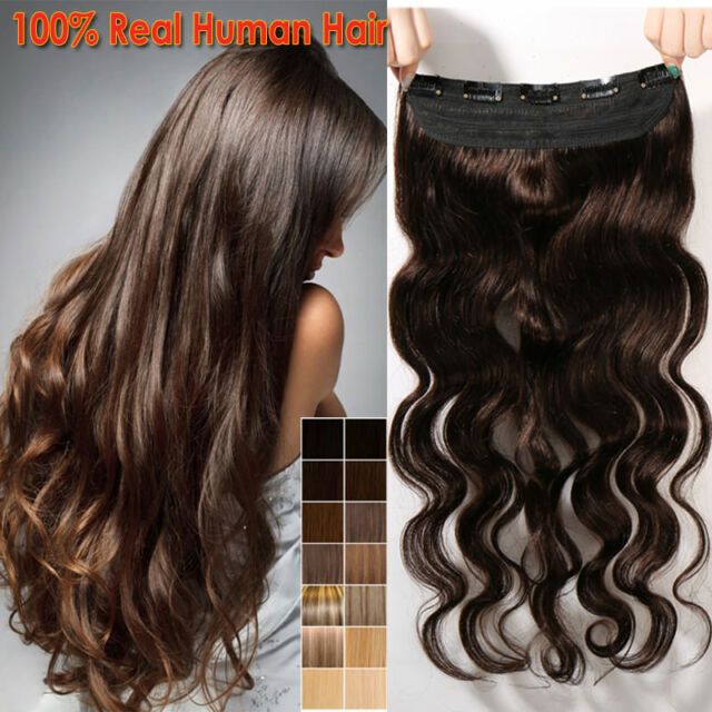 Curly One Piece Clip In 100 Real Human Hair Extensions 34 Full