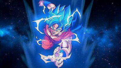Poster 42x24 cm Ball Super Vegeta Super Saiyan God Blue Manga Anime Cartel 09