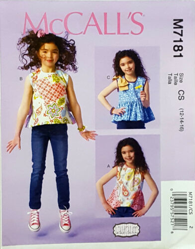 MCCALL/'S PATTERN TOP 3 DESIGNS GIRLS/' SIZE 7-8-10 or 12-14-16 # M7181