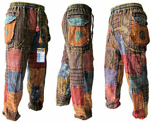Patchwork-Peace-Baba-Baggy-Hippy-Pants-Elastic-Waist-Summer-Om-Gypsy-Trousers