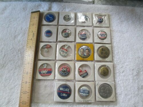 19 Political National Campaign Buttons Pinbacks VGC