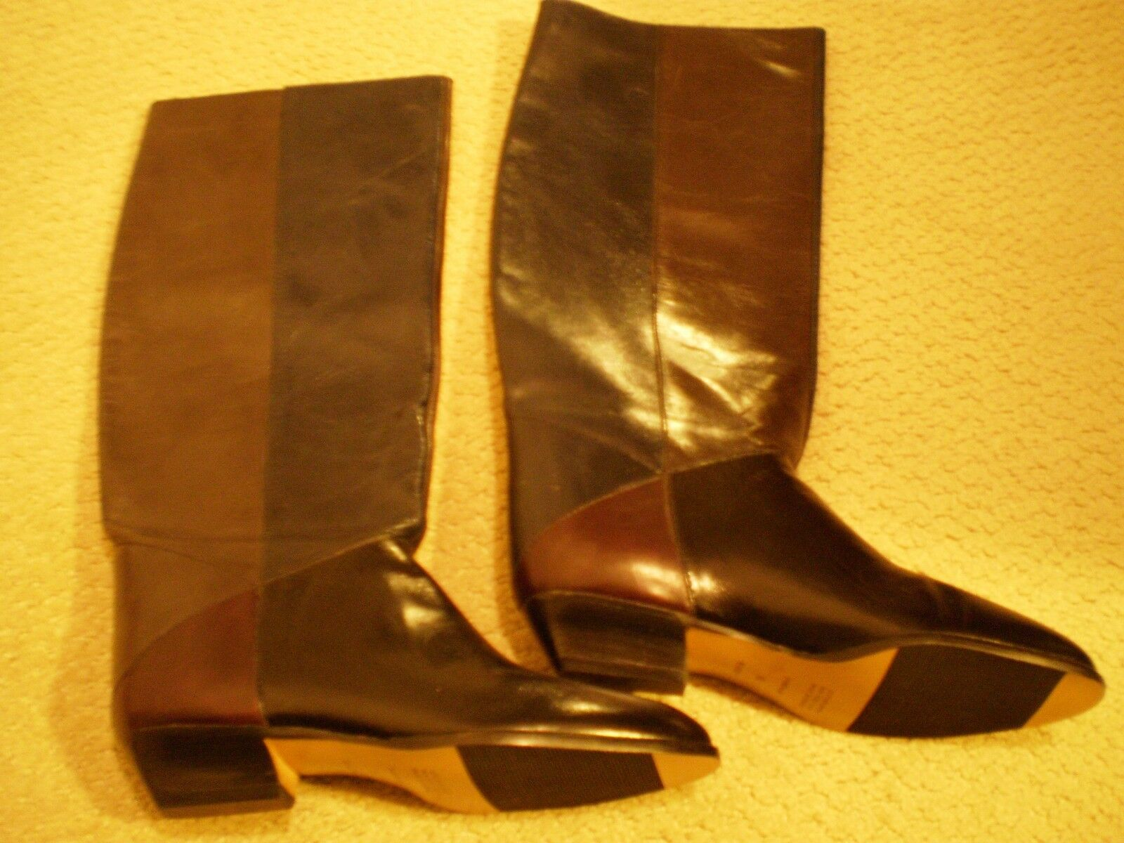 NEW Brazil made, Leather, color Block, Knee High Boots, US Size 6.5 M, 1  Heel