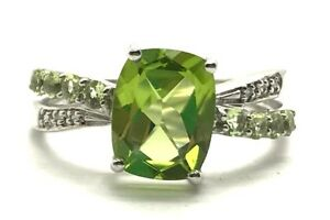 Sterling-Silver-925-Faceted-Green-Peridot-X-Diamond-Band-Crossover-Cocktail-Ring