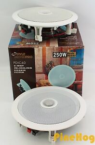 Qty-2-Pyle-PDIC60-6-5-034-250W-2-Way-Round-In-Wall-Ceiling-Home-Speakers-Audio